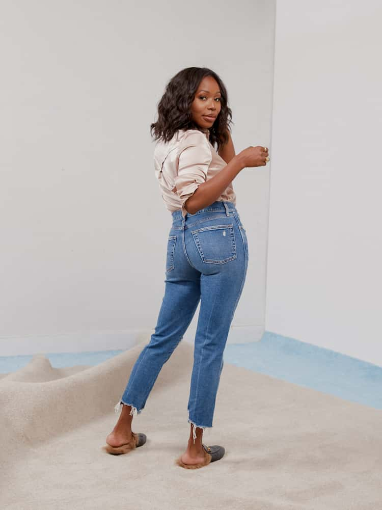 Gap High Rise Rip & Repair Cheeky Straight Jeans with Secret Smoothing Pockets