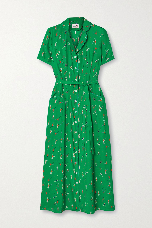 Maria Belted Printed Silk Crepe De Chine Midi Dress
