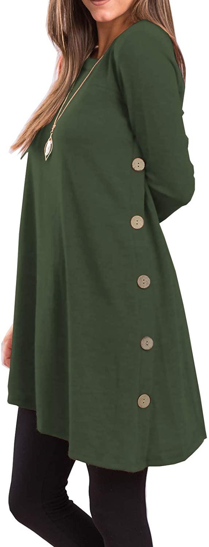 iGENJUN Scoop Neck Button Side Sweater Tunic Dress