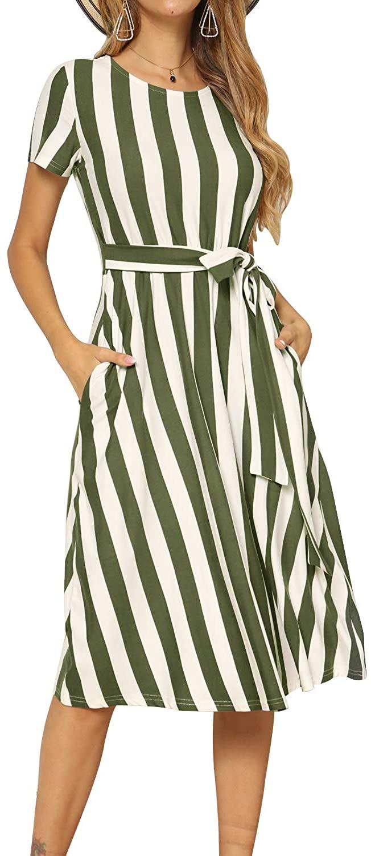 Levaca Wide Stripe Midi Dress