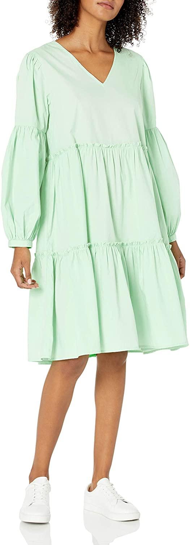 The Drop Long Sleeve Tiered Poplin Dress
