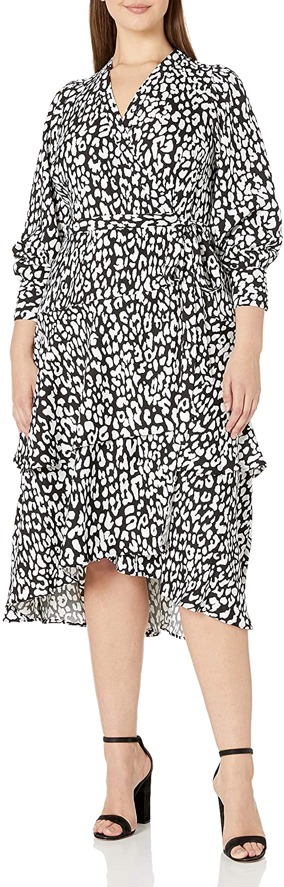 Calvin Klein Plus Size Long Sleeve Tiered Wrap Dress