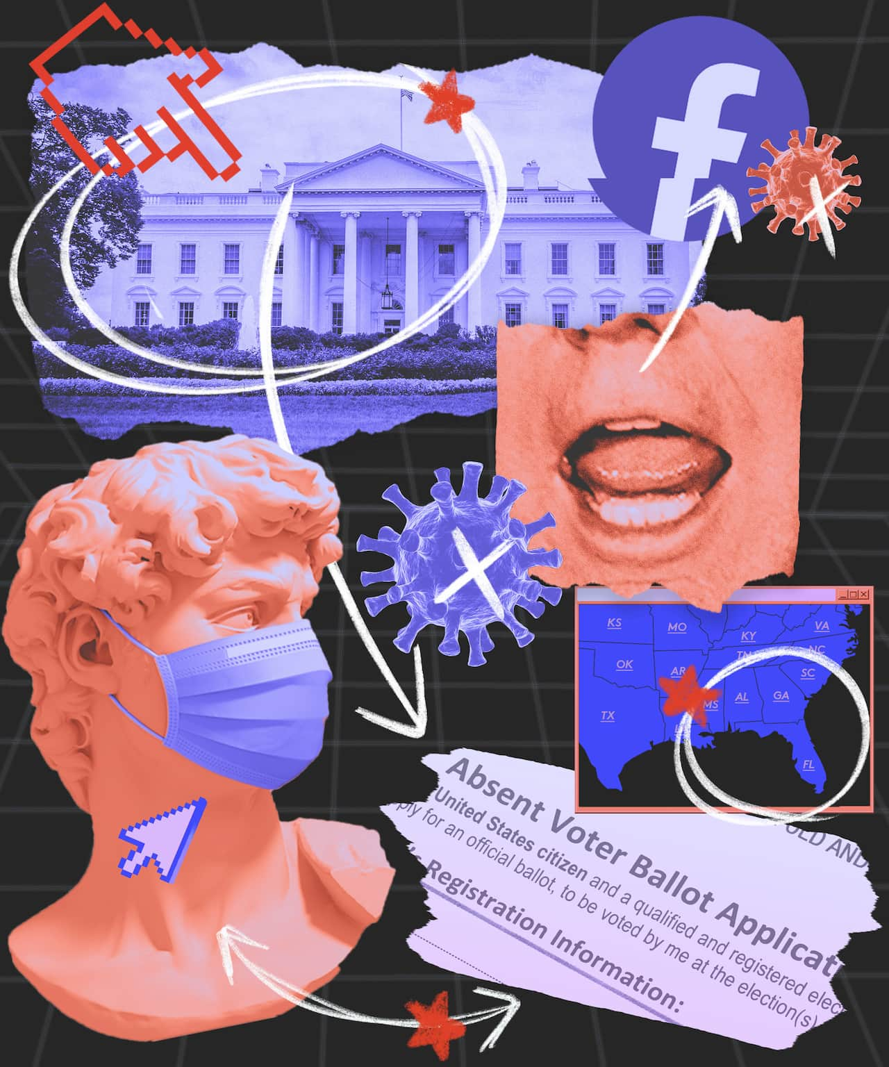 A collage of The White House, Trump's mouth, Facebook Logo, the Covid-19 virus, a map of the southern United States and part of an absentee ballot.