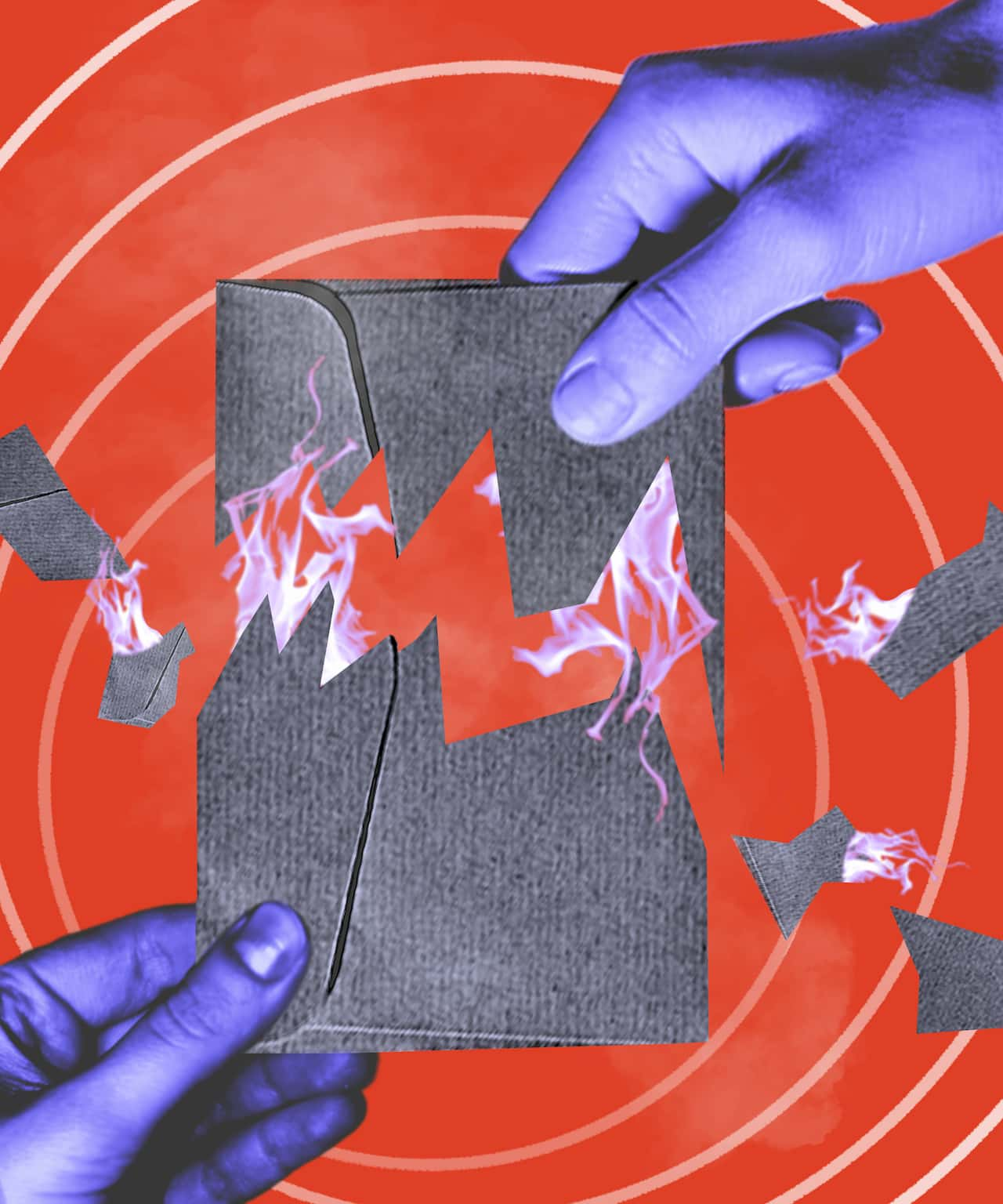 An illustration of two hands pulling a burning envelope apart.