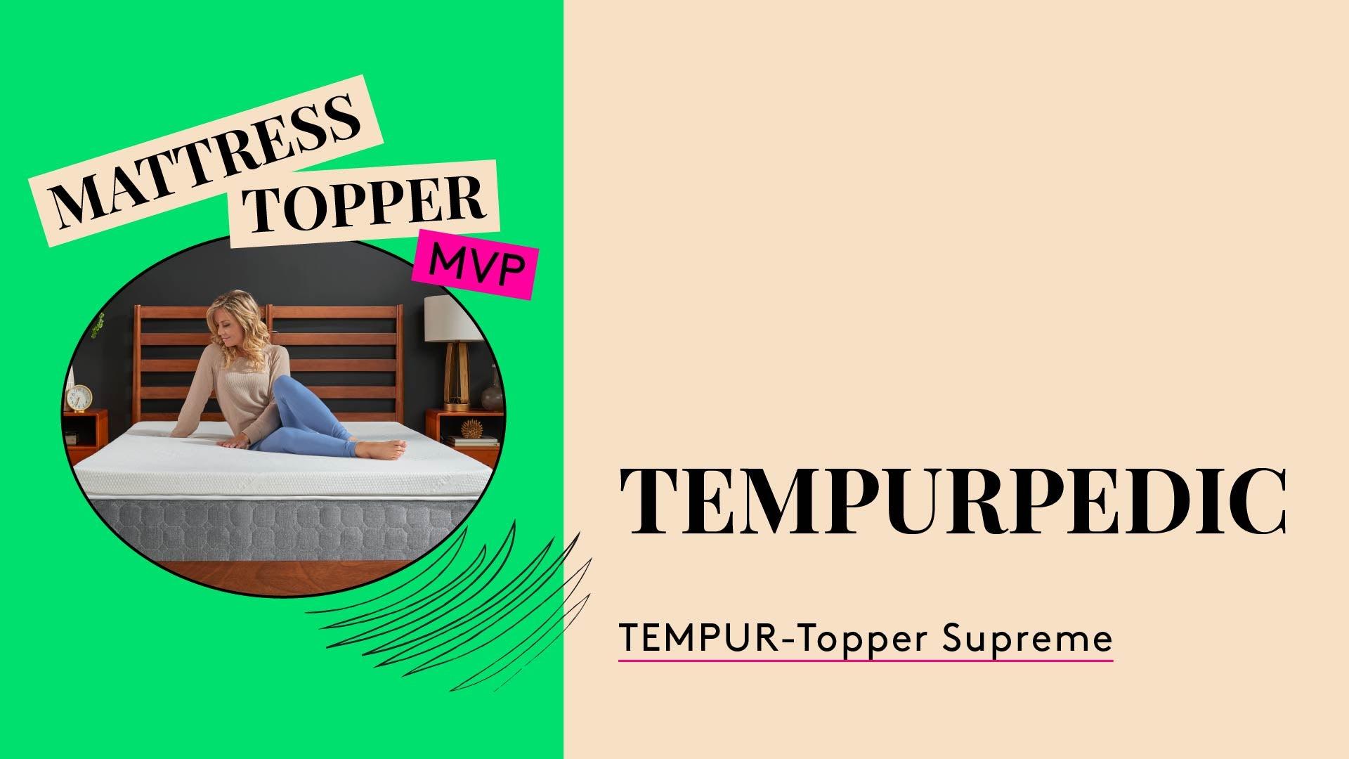 Mattress Topper MVP Awards. TEMPURPEDIC - TEMPER-Topper Supreme. A photo of a woman sitting on a mattress.