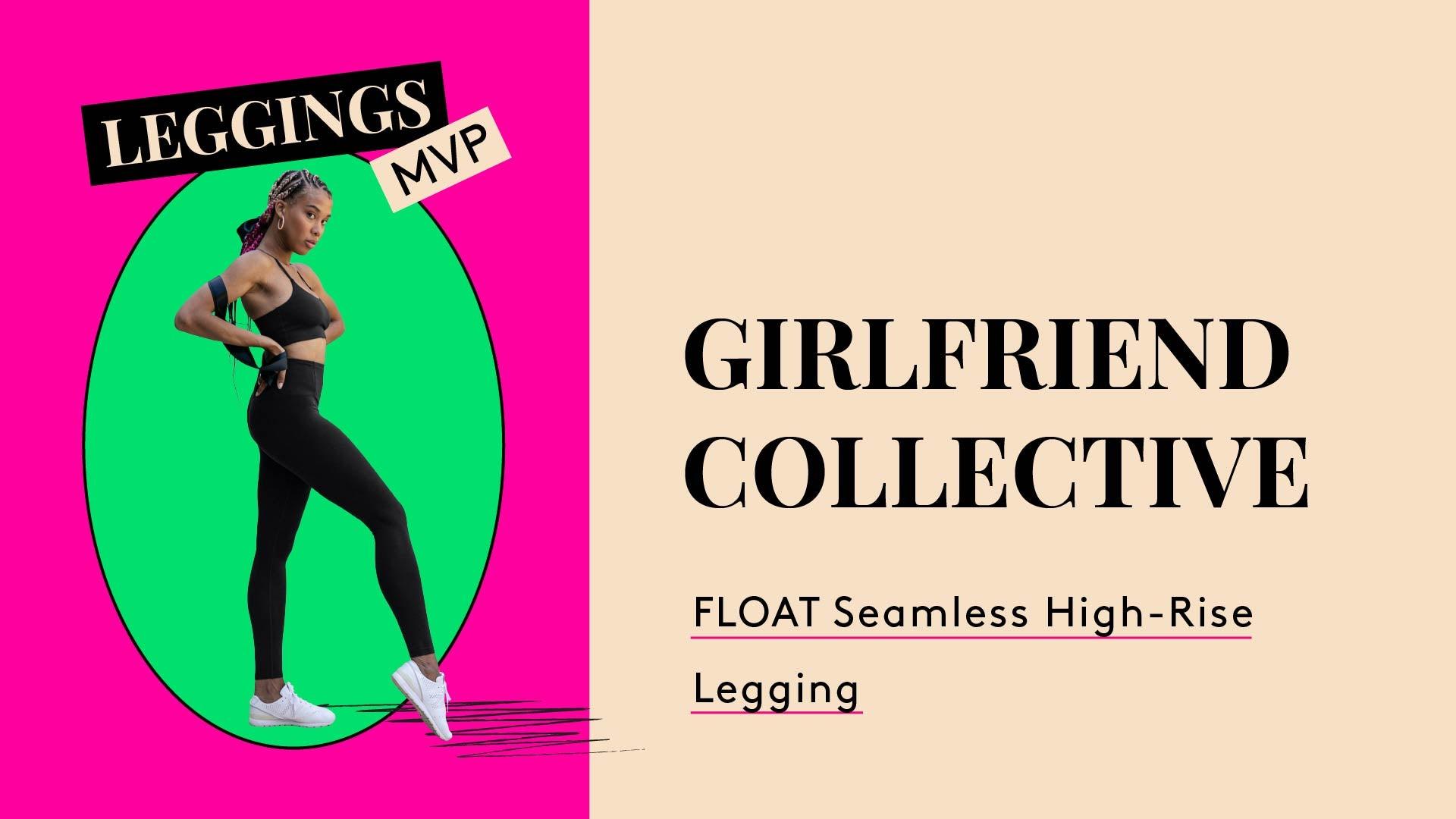 Leggings MPV. A photo of woman wearing leggings. Girlfriend Collective. Float Seamless High-Rise Legging.