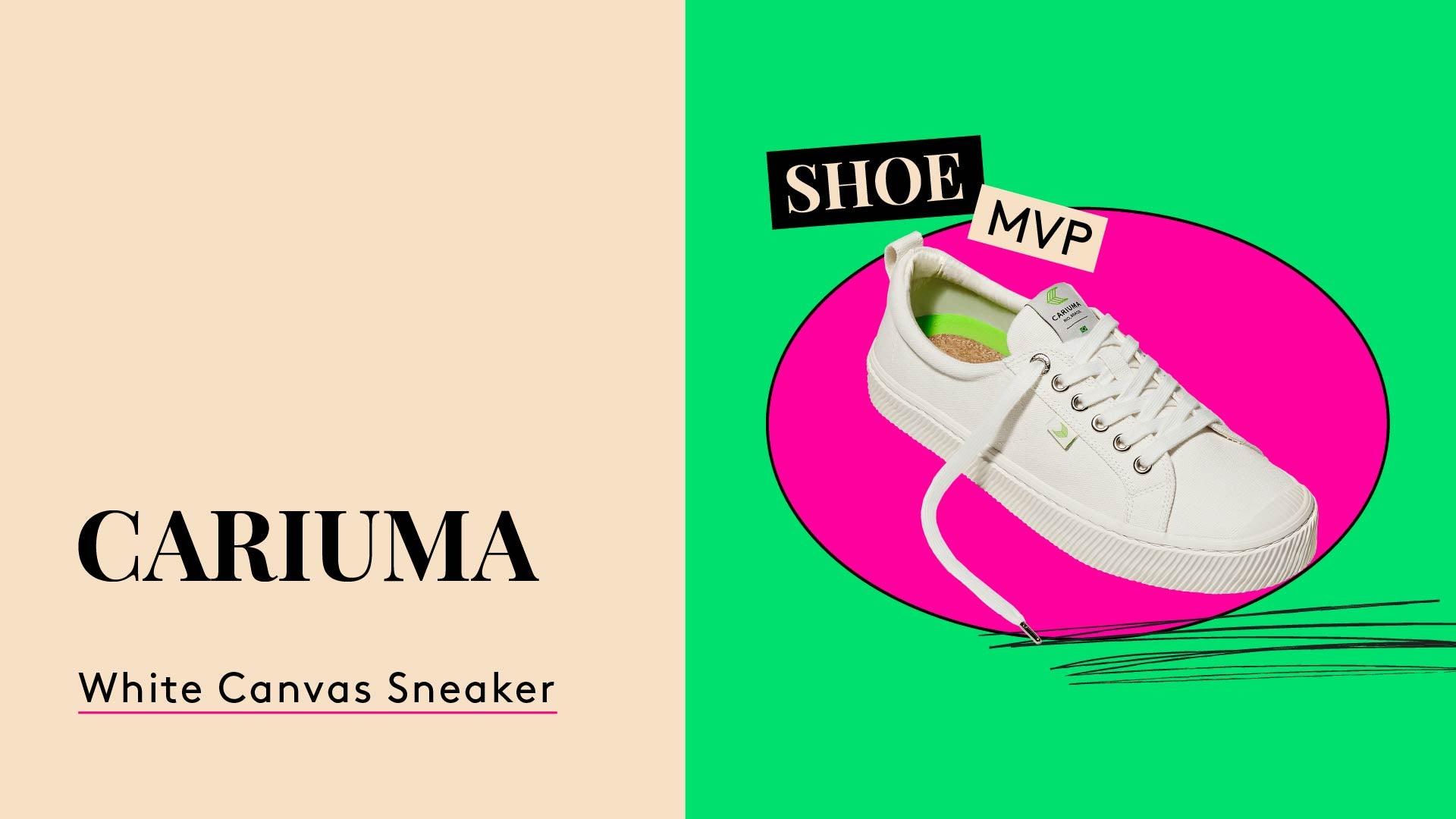 Shoe MPV. A photo of a white canvas sneaker. Cariuma. OCA Low.