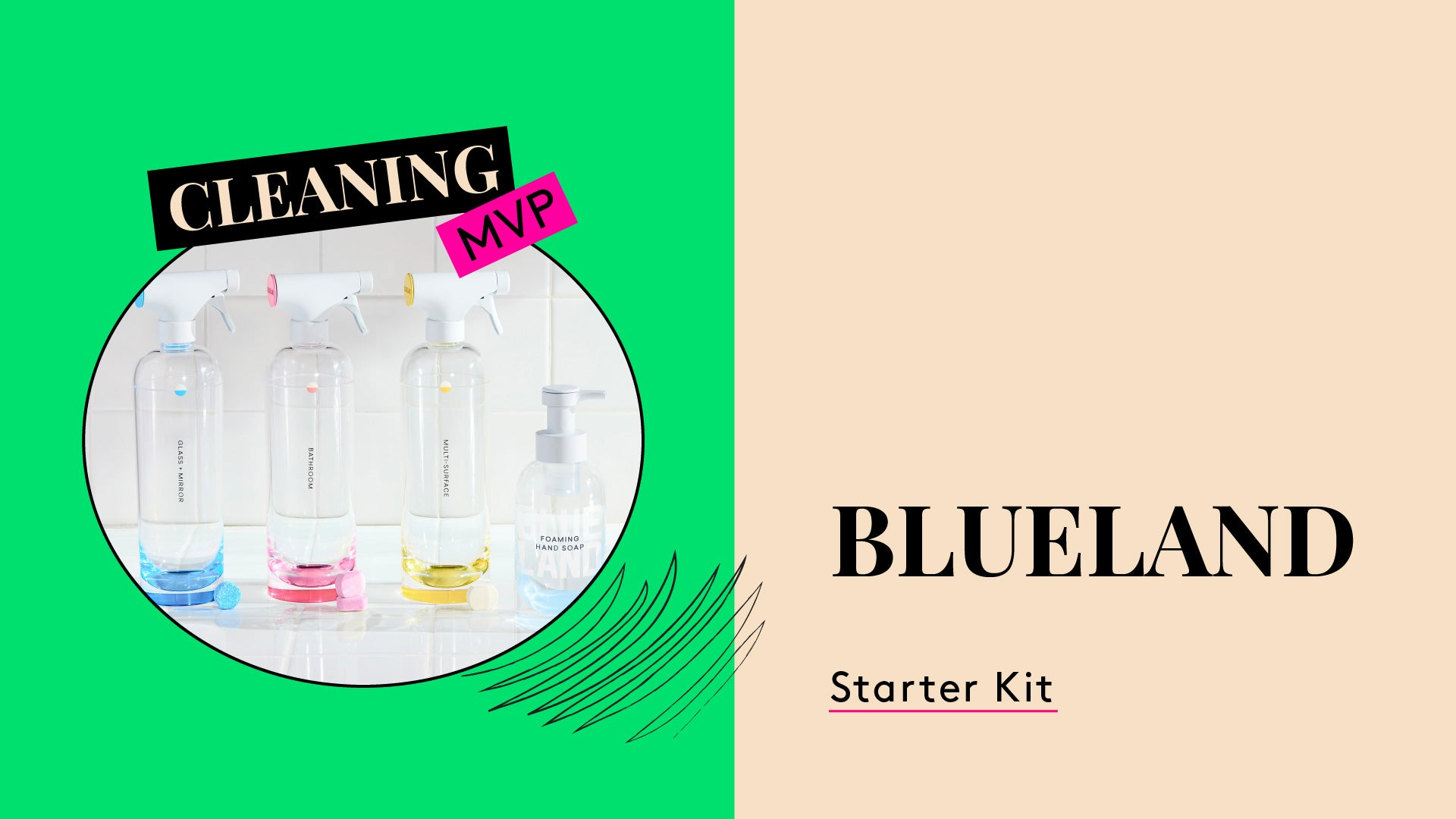 Blueland cleaning products. This is a photo of the Blueland starter kit.