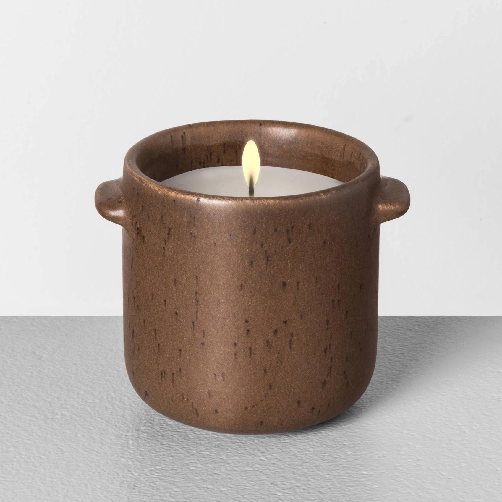 Seasonal Ceramic Candle Fireside