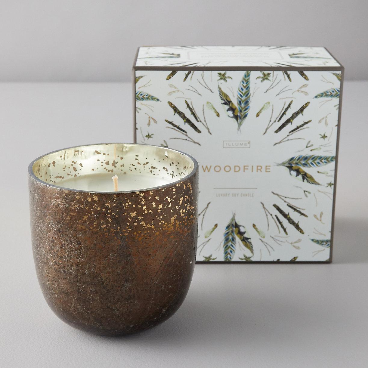 Mercury Glass Candle, Woodfire