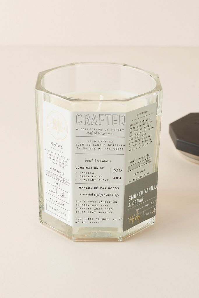 Smoked Vanilla & Cedar Glass Candle