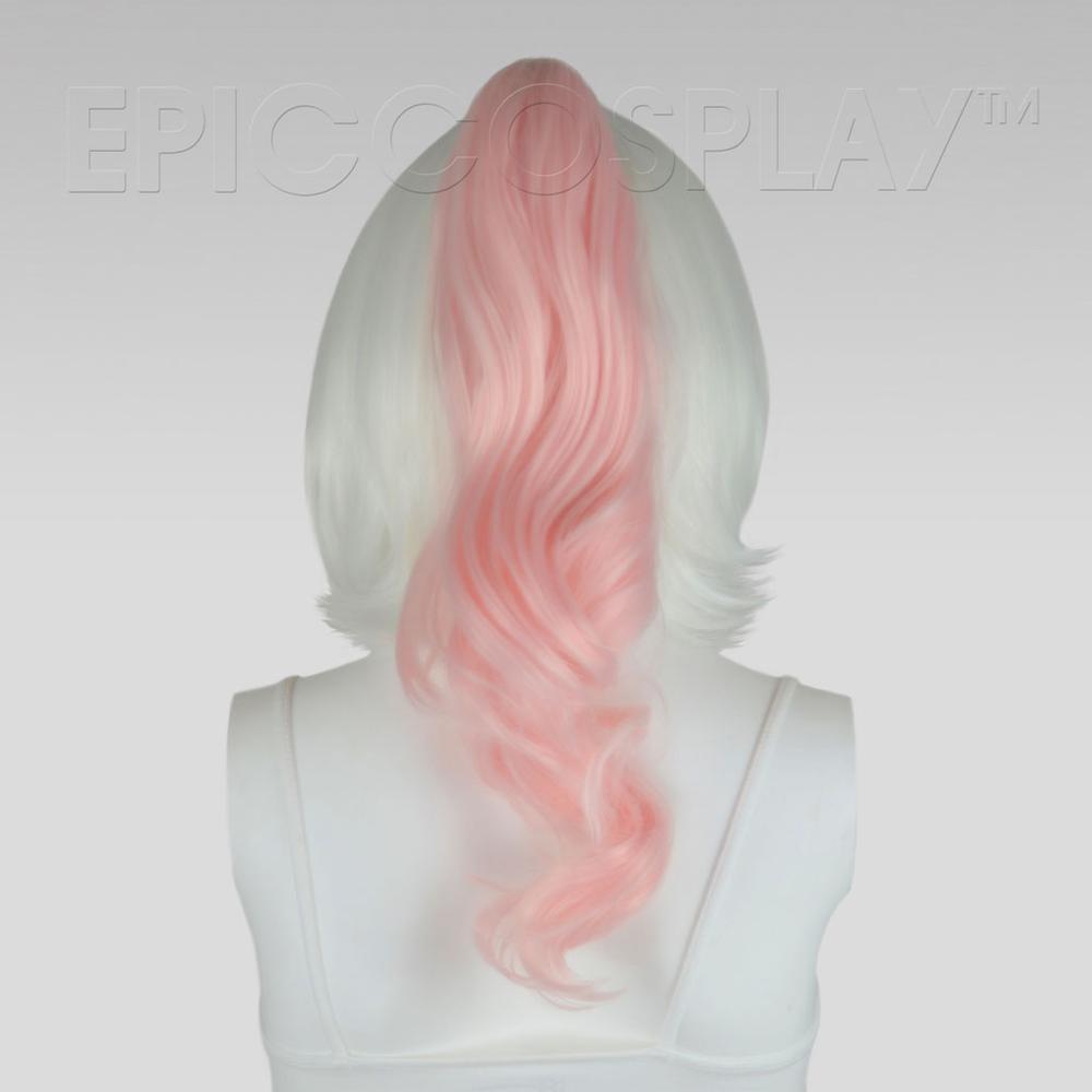 """20"""" Fusion Vanilla Pink Wavy Curly Ponytail Clipon"""