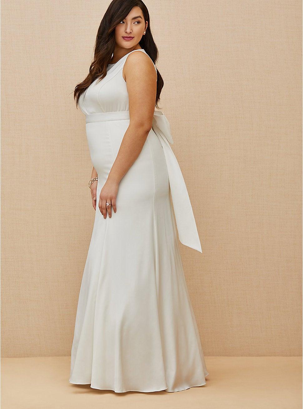 Ivory Satin Bow Back Mermaid Wedding Dress