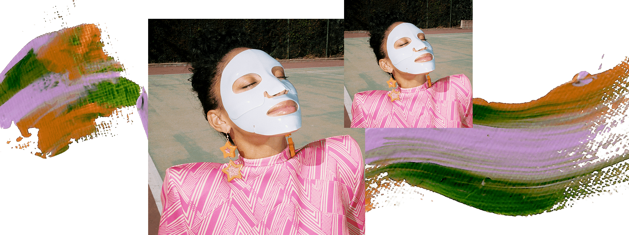 Model Lyric Mariah is wearing a sheet mask and sitting on the ground with her face turned up to the sky. She is wearing a pink striped top and orange star earrings. There is a decorative paint swatch of pink, purple, and green across the image.