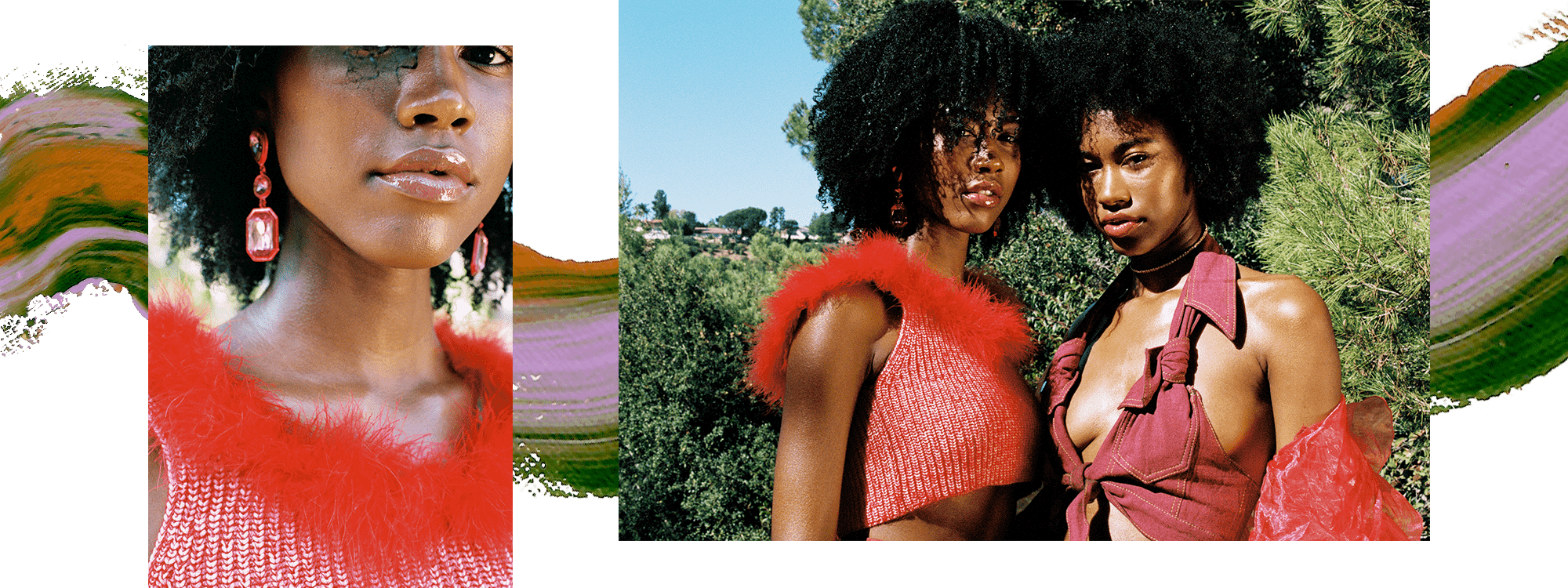 Model Alana January is wearing a pink crop top with a red feather trim. She has pink crystal earrings and her hair is loose and curly. In the second image, she appears with her sister Amaya January, who is wearing a rose-colored tied crop top and has brown curly hair. There is a swatch of purple and green paint behind them.
