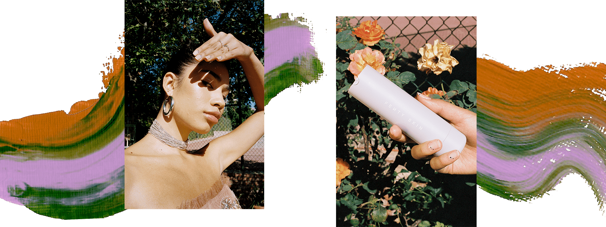 Model Ariel Toole wearing a beige tulle tube top and silver necklace. She is holding her hand over her face to shield the sun. In the second image, a model is holding a bottle of Fenty sunscreen over a flower bush. There is a pink, orange, and green paint swatch behind the images.