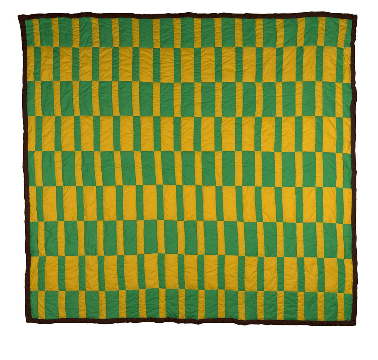 Green and Yellow Basketweave Quilt