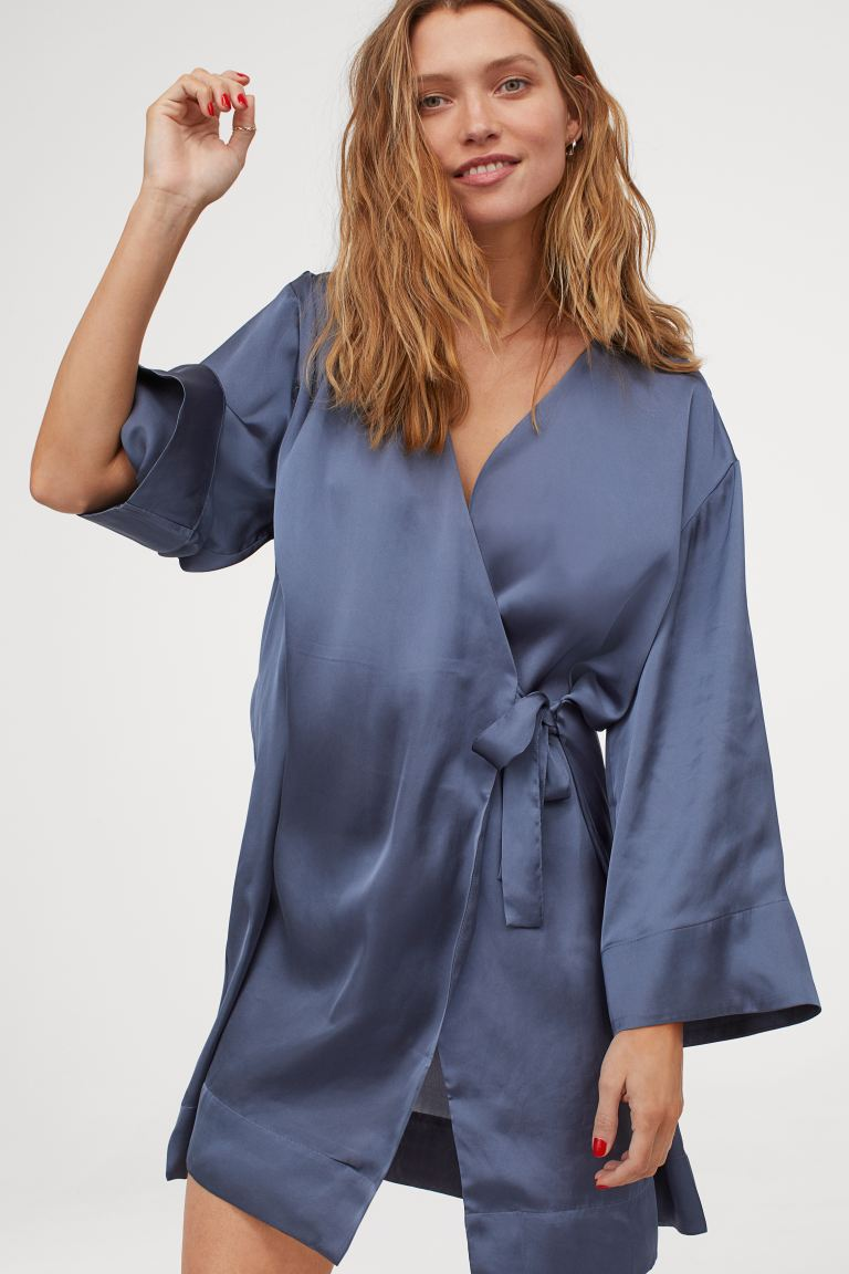 Satin robe Silk kimono robe Short silk robe Floral silk robe Silk kimono Silk robe for women Kimono robe Christmas gift For her