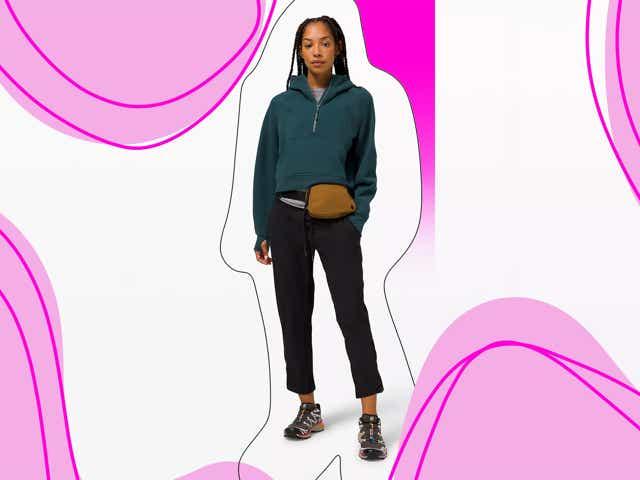 Model wearing Lululemon brand activewear.