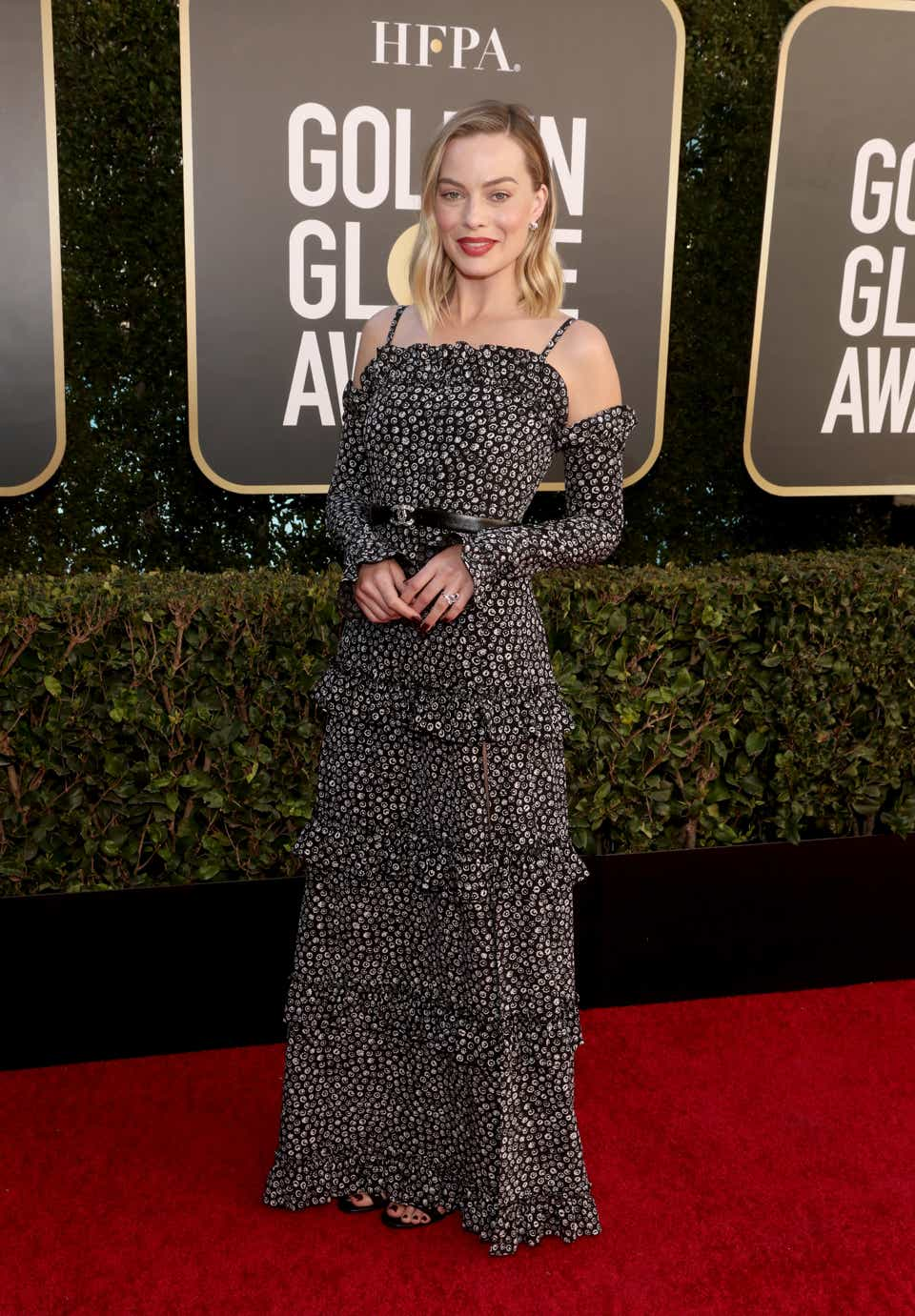 Margot Robbie at the 2021 Golden Globe Awards in a Chanel dress.