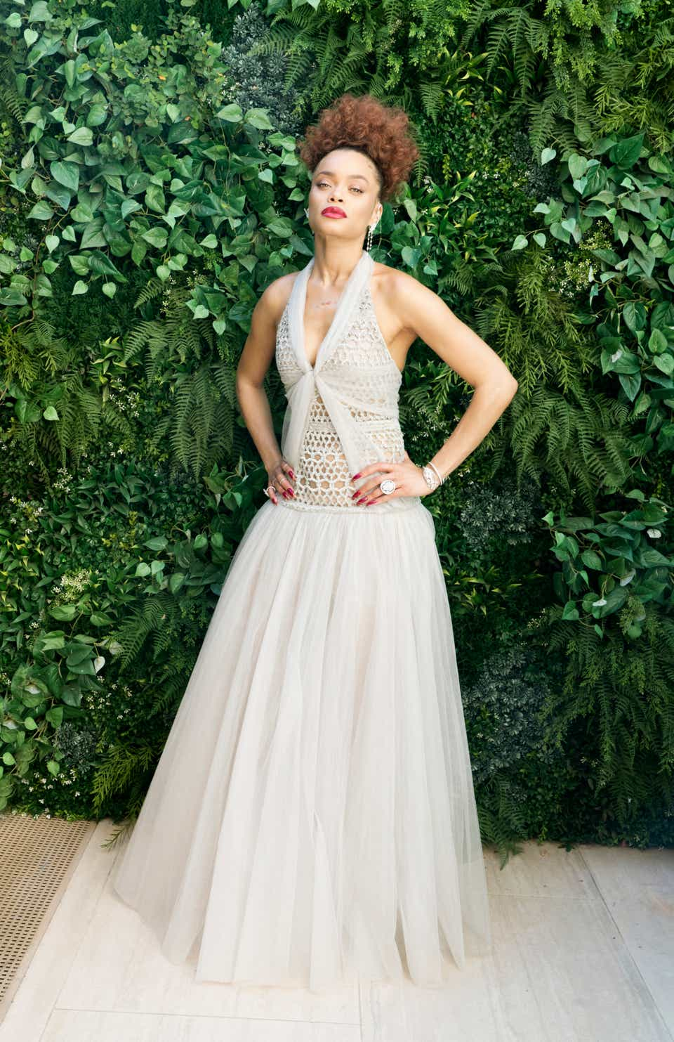 Andra Day at the Golden Globes wearing Chanel.