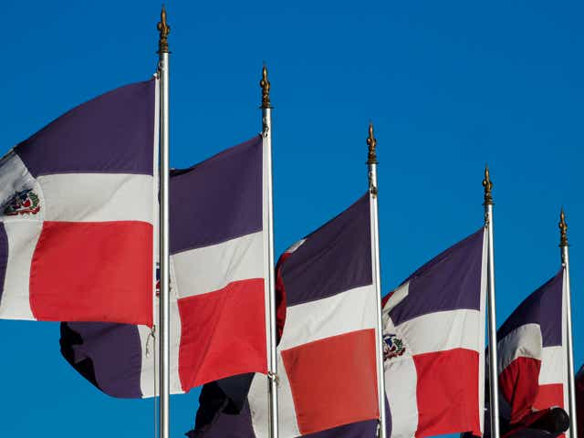 Flag of the Dominican Republic waving.