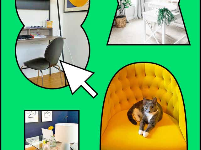 Wayfair office furniture collage on green designed background.