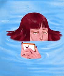 Illustration of a woman looking on her phone surrounded by water, implying that she might be metaphorically drowning in job pressures and mental health stress
