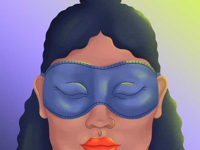 Illustration of a woman with a sleeping mask.