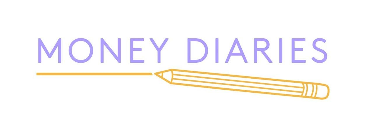 Money Diaries logo featuring purple text with yellow underline and yellow pencil graphic