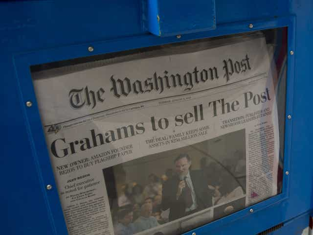 The front page of the Washington Post newspaper as seen in a newstand.