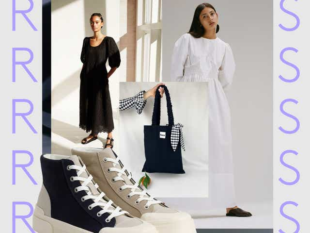 Collage of images including Good News shoes, models in black and white maxi dresses and a black tote bag