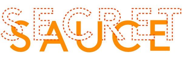 """Secret Sauce"" in orange lettering"