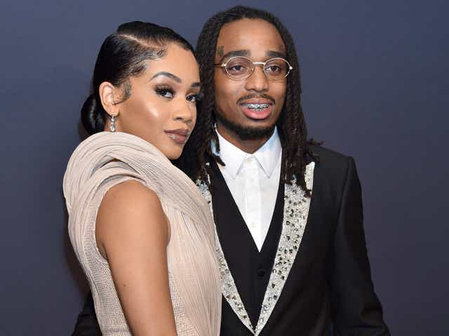 Saweetie and Quavo attend the Pre-GRAMMY Gala and GRAMMY Salute to Industry Icons