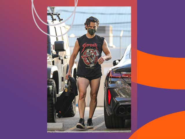 Milo Ventimiglia wearing short shorts to the gym in Los Angeles.