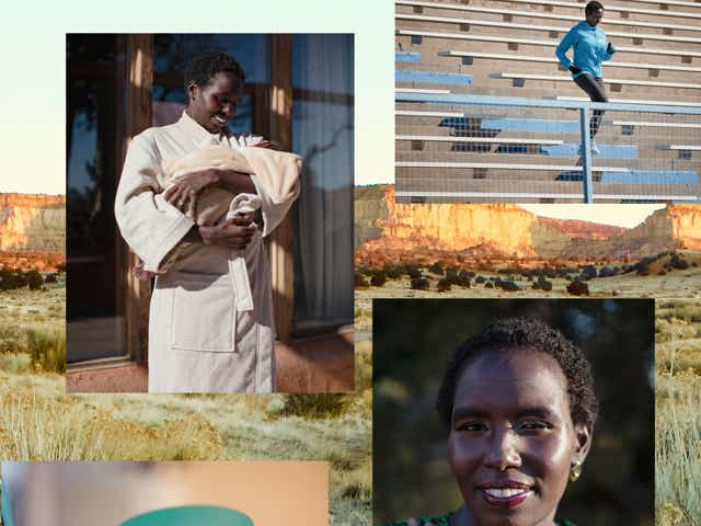 A collage of images of marathoner Aliphine Tuliamuk and Aveda hair products.