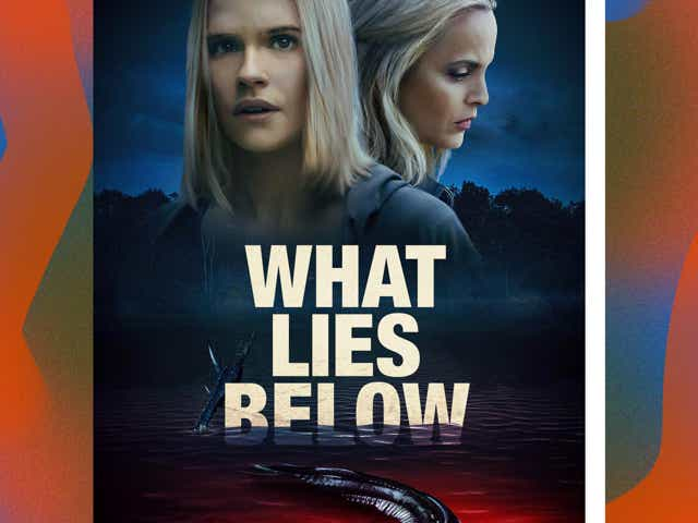 "Movie poster for the film ""What Lies Below"" on a gradient background."