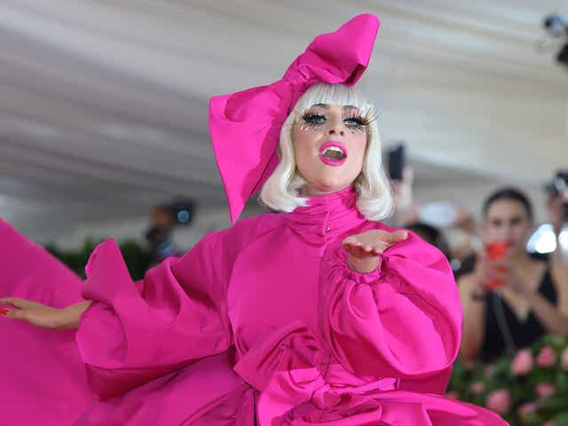 Lady Gaga wearing a Brandon Maxwell hot pink gown at the 2019 Met Gala.