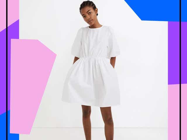 Model wearing white poplin minidress from Madewell