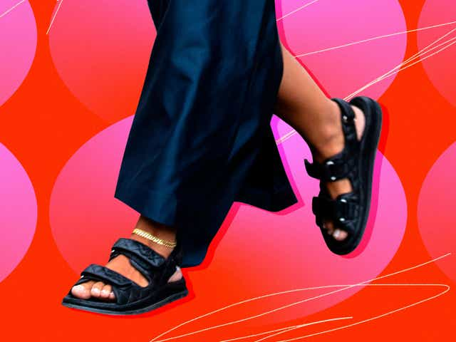A street style close up of a woman wearing chunky sandals