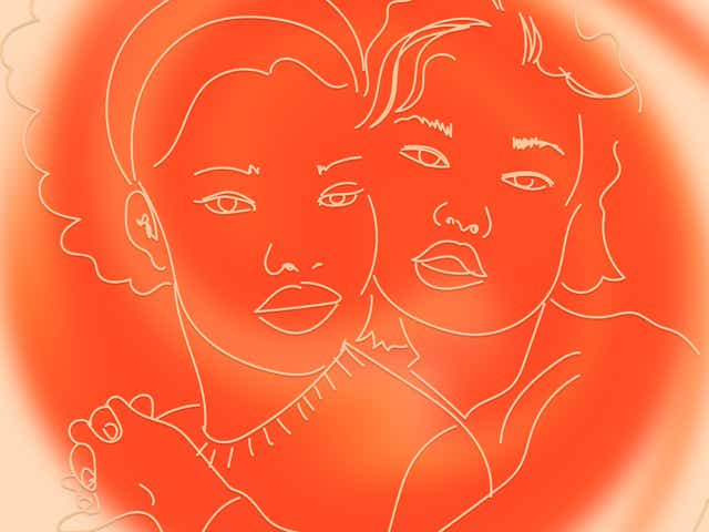 Illustration of two people, one of them has their arms around the other. There is a rich orange misty circle overlaid on the image to represent the idea of warmth