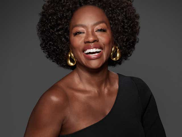 Viola Davis poses for the L'Oreal Age Perfect Cell Renewal Midnight Serum campaign shoot.