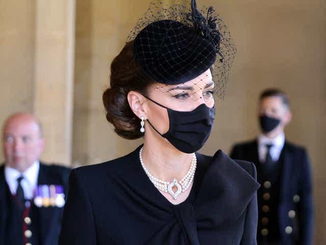 Britain's Catherine, Duchess of Cambridge, attends the funeral of Britain's Prince Philip, Duke of Edinburgh.