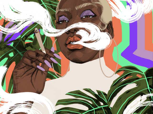 Illustration of a Black woman smoking a joint surrounded by natural elements and smoke.