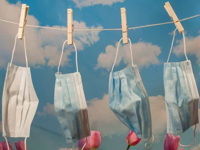 Surgical face masks hanging on a clothing line in front of a cloud backdrop with pink tulips.