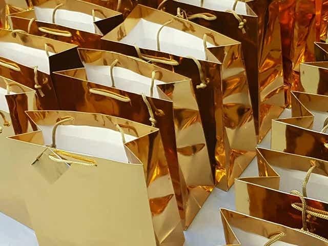 Gold shopping bags