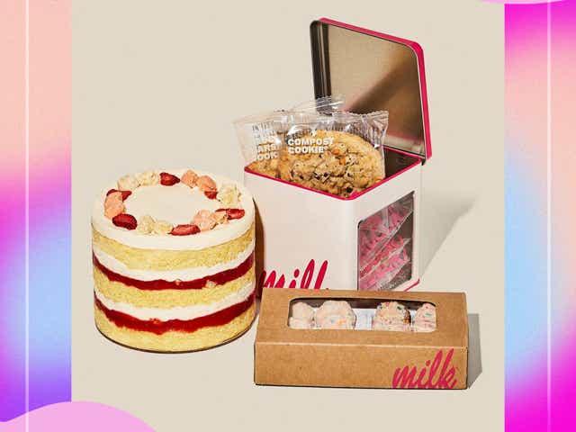 Milk bar strawberry shortcake cake, cookie tin, and cake balls