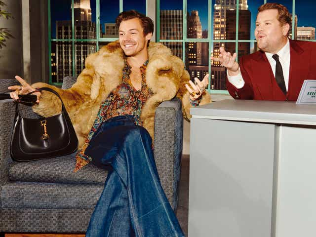 Harry Styles in the Gucci Beloved campaign with James Cordon.