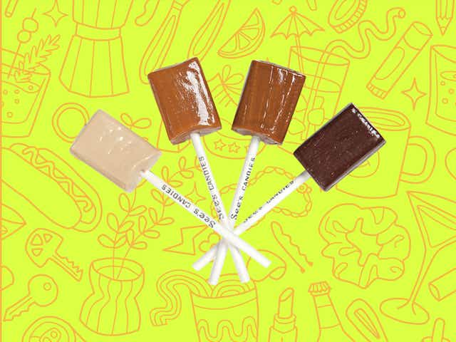 See's Candies assorted lollipops over a yellow background with orange line drawings of various objects Money Diarists purchase.