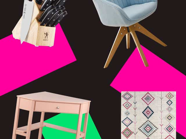 Wayfair products on a designed background.